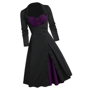 Dresses & Skirts - Long Sleeve Contrast Button Goth Pin Up Dress